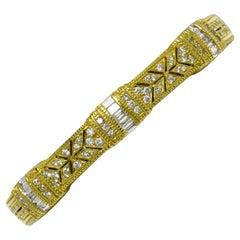 Judith Ripka Diamond Bracelet Cuff Bangle Heavy Yellow Gold Etruscan Granulation