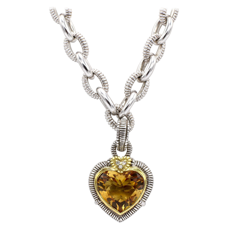 Judith Ripka Diamond & Citrine Heart Sterling Silver & 18K Gold Pendant Necklace