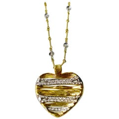 Judith Ripka Diamond Heart Necklace with Diamond Chain in 18 Karat Yellow Gold