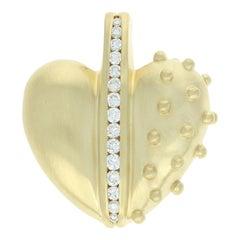 Judith Ripka Diamond Spiked Heart Enhancer Pendant, 18k Gold Round Cut .54ctw