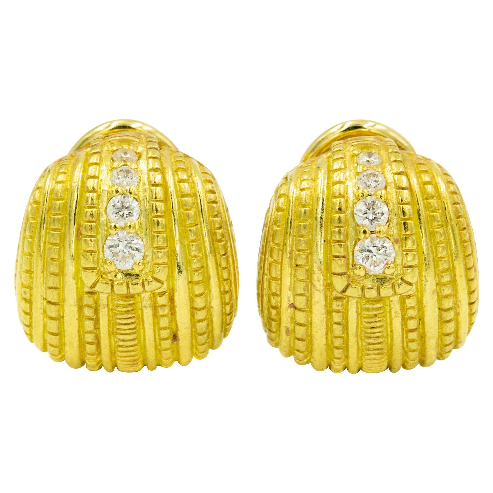 Judith Ripka Diamond Textured 18 Karat Yellow Gold Earrings