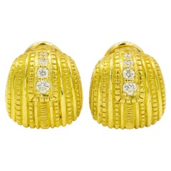 Judith Ripka Diamond Textured 18 Karat Yellow Gold Earrings