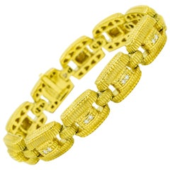 Judith Ripka Diamond Textured Yellow Gold Rectangular Link Bracelet