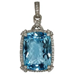Judith Ripka Diamond, White Gold and Blue Topaz Pendant