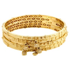 Judith Ripka Diamond Yellow Gold Five-Bangle Bracelet Set