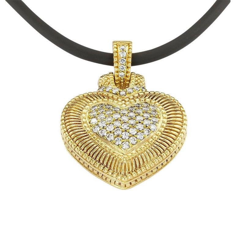 Contemporary Judith Ripka Diamond Yellow Gold Heart Shaped Enhancer Pendant For Sale