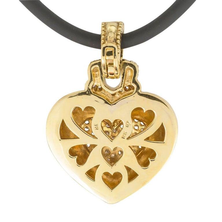 Round Cut Judith Ripka Diamond Yellow Gold Heart Shaped Enhancer Pendant For Sale