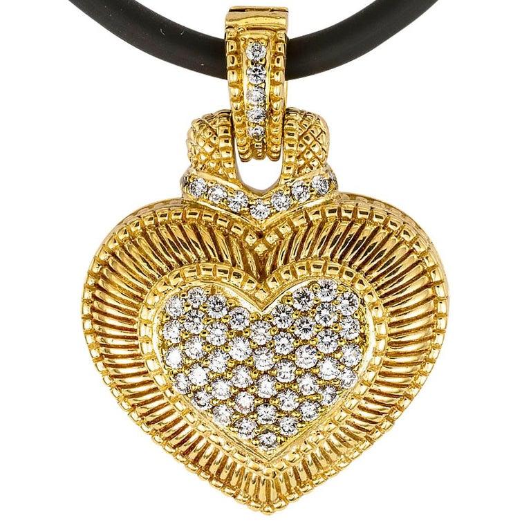 Women's Judith Ripka Diamond Yellow Gold Heart Shaped Enhancer Pendant For Sale