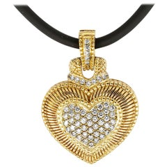 Judith Ripka Diamond Yellow Gold Heart Shaped Enhancer Pendant