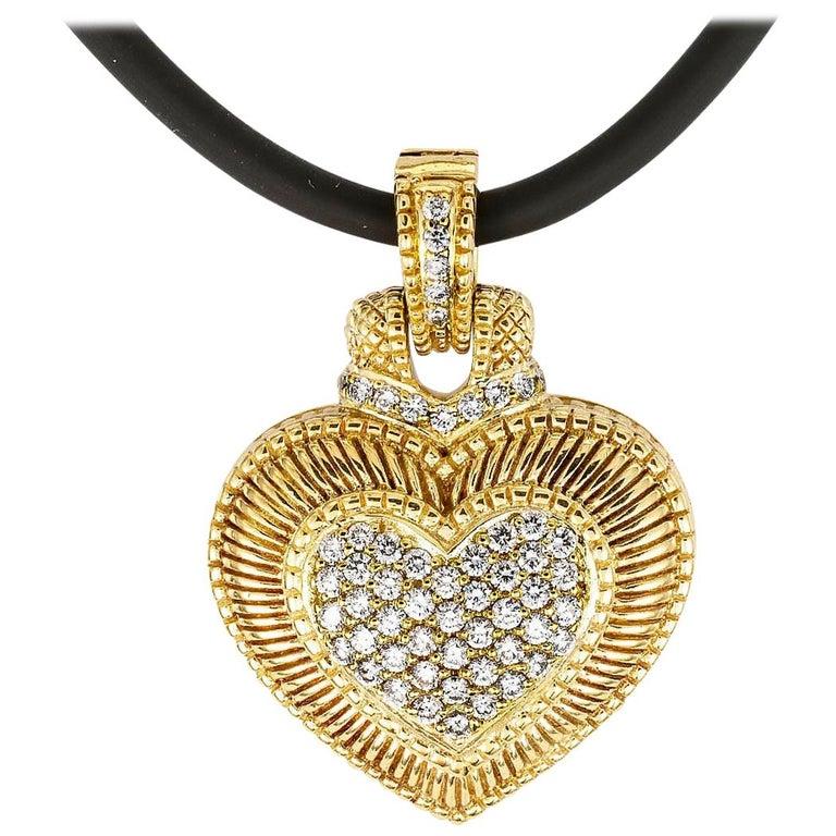 Judith Ripka Diamond Yellow Gold Heart Shaped Enhancer Pendant For Sale