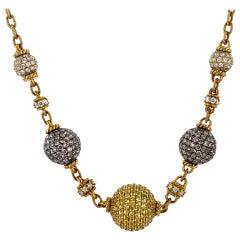 Judith Ripka Diamond Yellow Sapphire 18 Karat Yellow Gold Ball Necklace