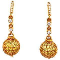 Judith Ripka Diamond Yellow Sapphire Drop 18 Karat Yellow Gold Earrings
