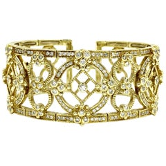 Judith Ripka Garland 18 Karat Yellow Gold Diamond Cuff Bracelet