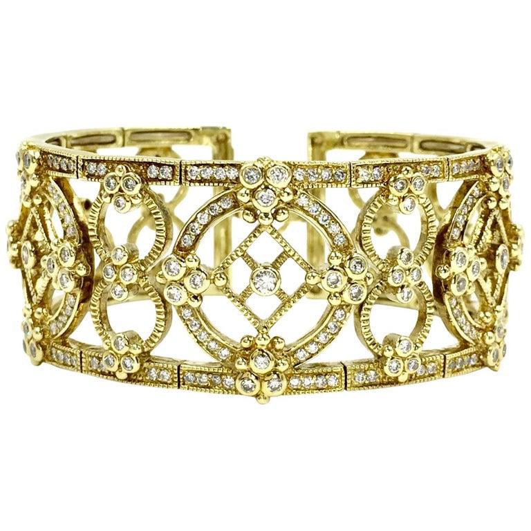 Judith Ripka Garland 18 Karat Yellow Gold Diamond Cuff Bracelet For Sale