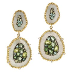 Judith Ripka Gemstone and Diamond Dangle Earrings