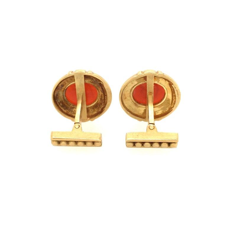 Uncut Judith Ripka Gold and Carnelian Intaglio Cufflinks For Sale