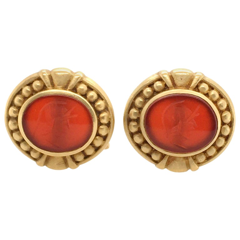 Judith Ripka Gold and Carnelian Intaglio Cufflinks For Sale