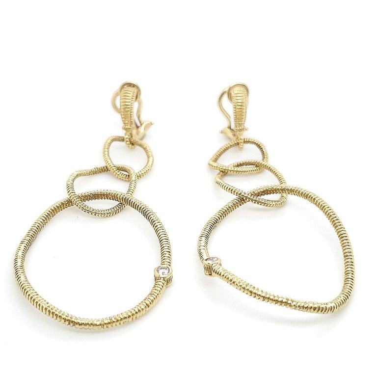 Round Cut Judith Ripka Gold Diamond Triple Hoop Earrings For Sale