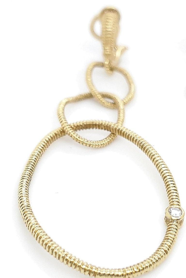 Women's Judith Ripka Gold Diamond Triple Hoop Earrings For Sale