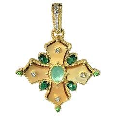 Judith Ripka Gold, Multi-Colored Stone and Diamond Maltese Cross Pendant