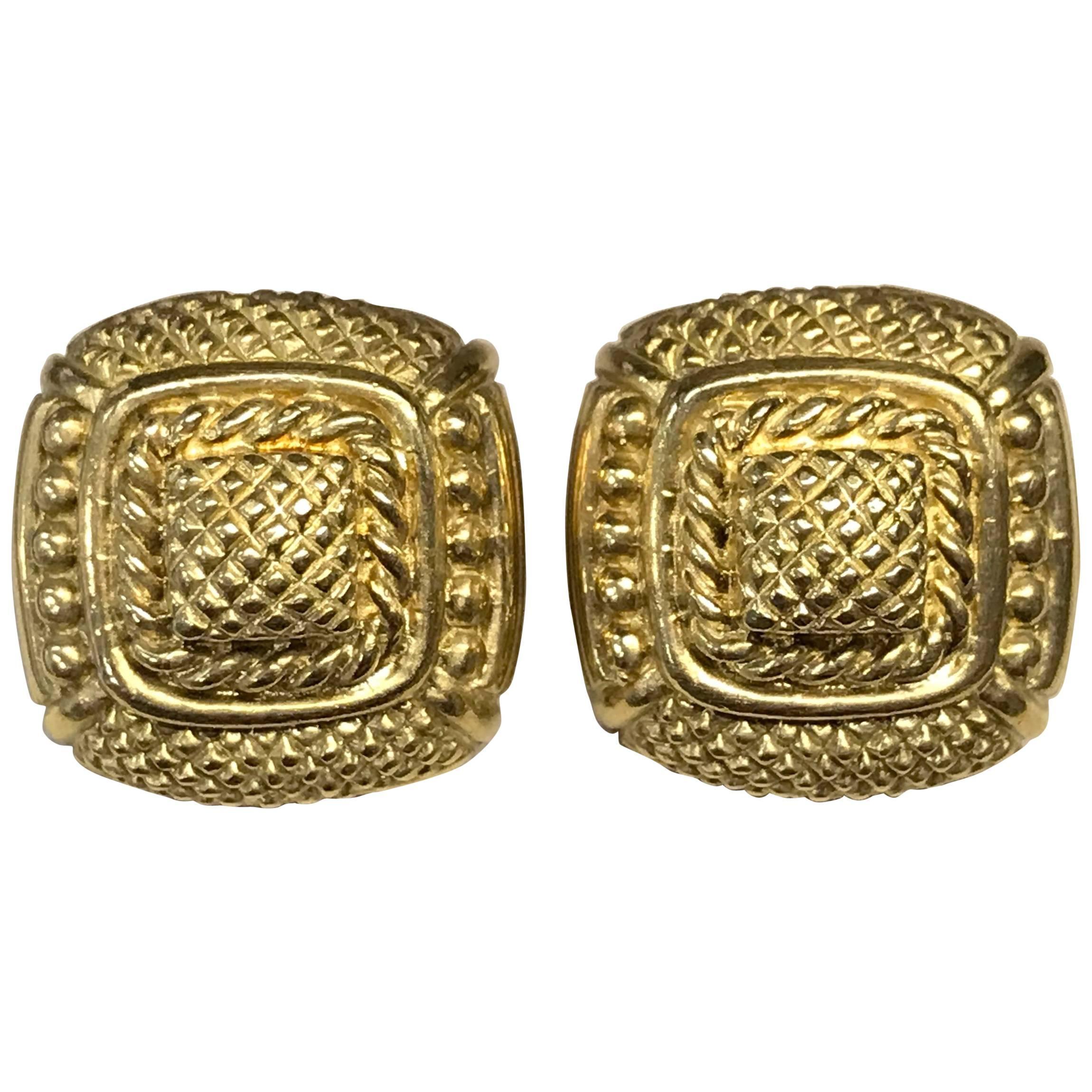 Judith Ripka 18 Karat Square Earrings