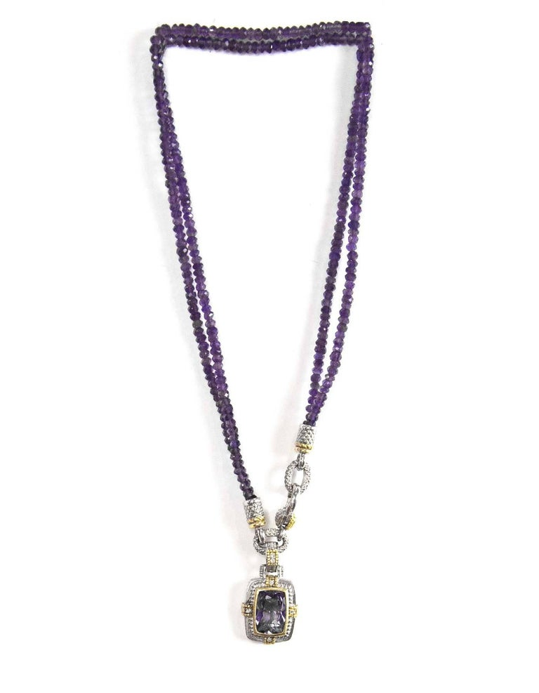 Judith Ripka Gold, Silver & Diamond Purple Two-Strand Necklace with DB In Excellent Condition In New York, NY