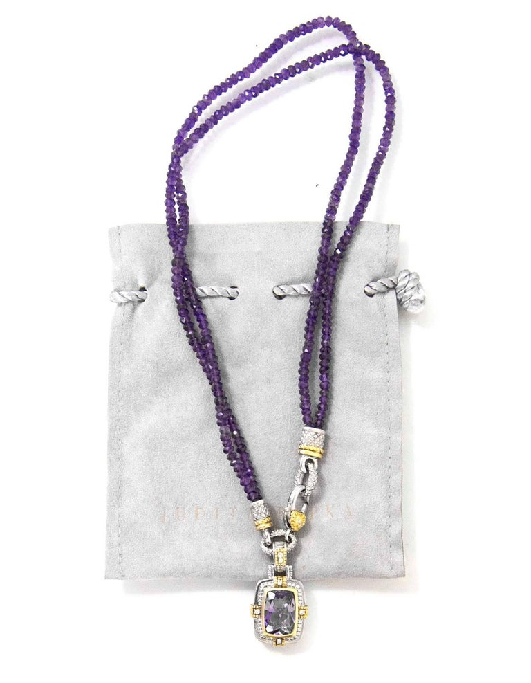 Judith Ripka Gold, Silver & Diamond Purple Two-Strand Necklace with DB 1