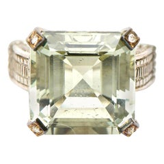 Judith Ripka Green Amethyst Diamond, !8K White Gold and Sterling Silver Ring