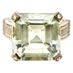 Judith Ripka Green Amethyst Diamond !8K White Gold and Sterling Silver Ring