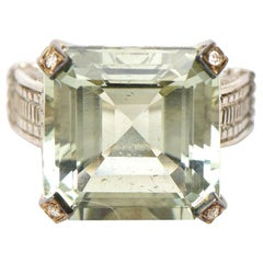 Judith Ripka Green Amethyst Diamond, White Gold and Sterling Silver Ring