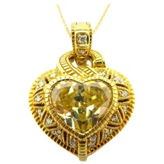 Judith Ripka Heart Shaped Canary Yellow Crystal and Diamond Necklace 18K