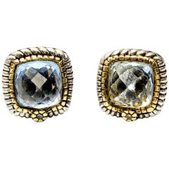 Judith Ripka JR Two Sterling Silver 18 Karat Gold Blue Quartz Diamond Earrings