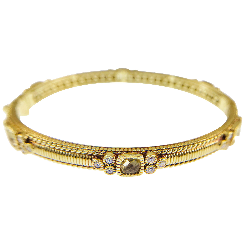Judith Ripka La Petite Collection Diamond Citrine Hinged Bangle