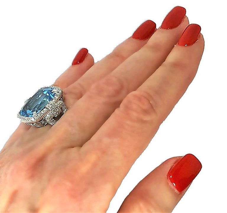 Judith Ripka Large Scale White Gold Diamond and 17.90Ct Blue Topaz Ring For Sale 5