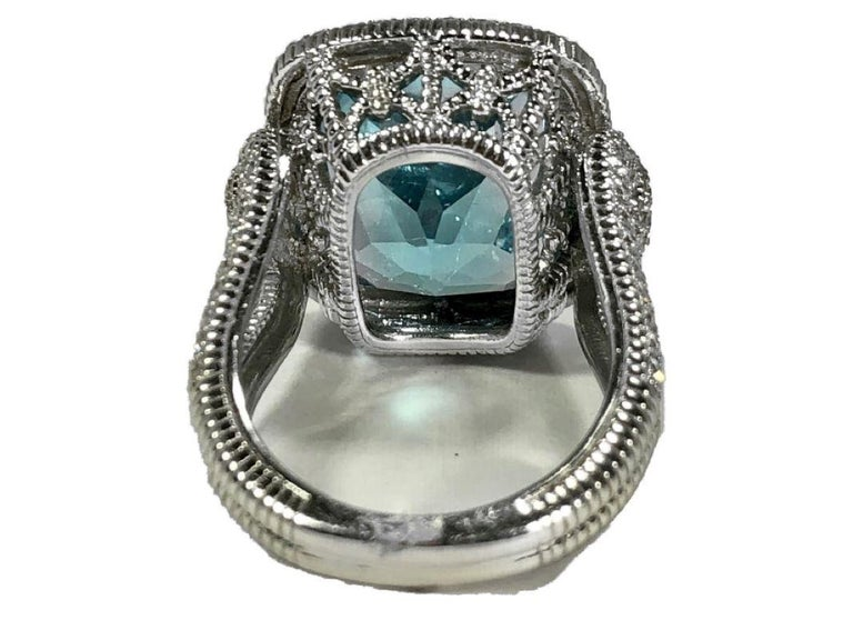 Brilliant Cut Judith Ripka Large Scale White Gold Diamond and 17.90Ct Blue Topaz Ring For Sale