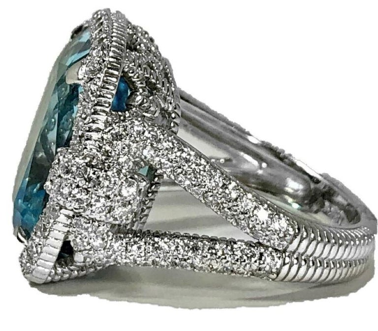Women's Judith Ripka Large Scale White Gold Diamond and 17.90Ct Blue Topaz Ring For Sale