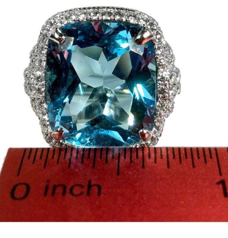Judith Ripka Large Scale White Gold Diamond and 17.90Ct Blue Topaz Ring For Sale 2
