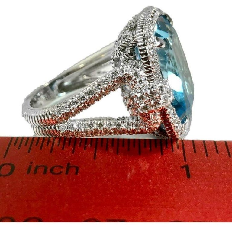 Judith Ripka Large Scale White Gold Diamond and 17.90Ct Blue Topaz Ring For Sale 3
