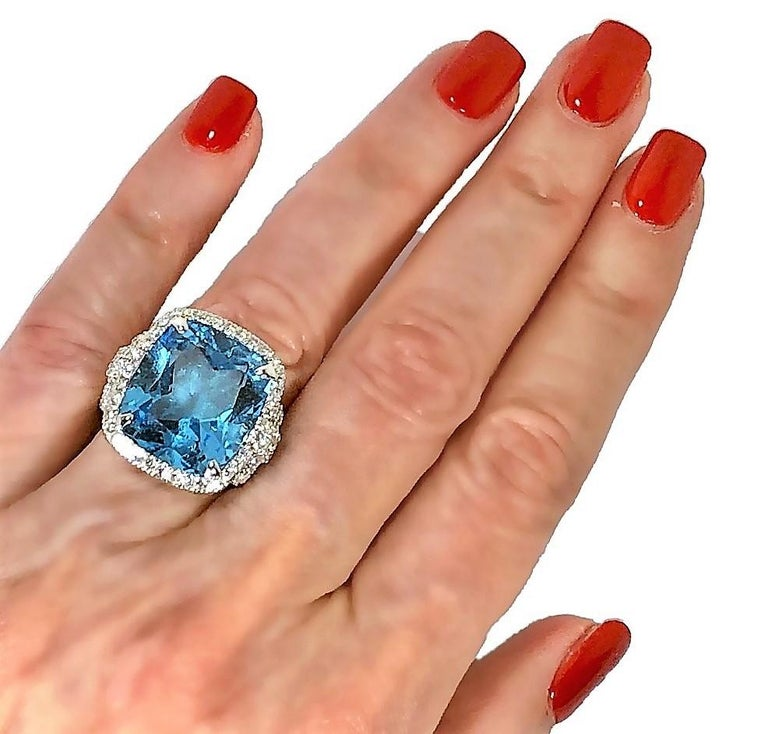 Judith Ripka Large Scale White Gold Diamond and 17.90Ct Blue Topaz Ring For Sale 4