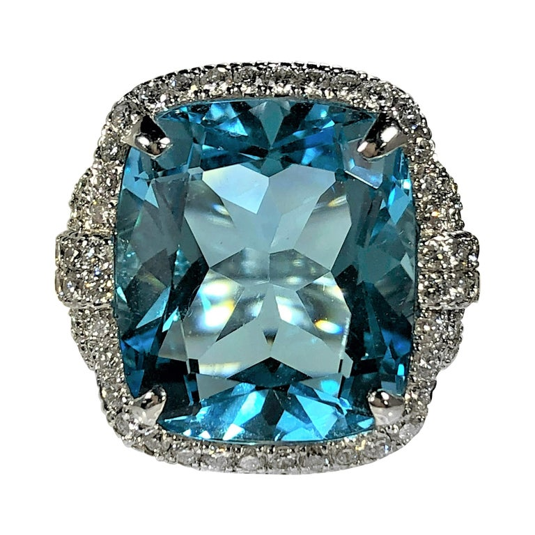 Judith Ripka Large Scale White Gold Diamond and 17.90Ct Blue Topaz Ring For Sale