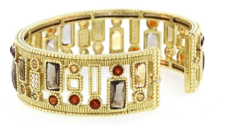 Judith Ripka Multi-Color Gemstone Yellow Gold and Diamond Cuff In Excellent Condition For Sale In Boca Raton, FL