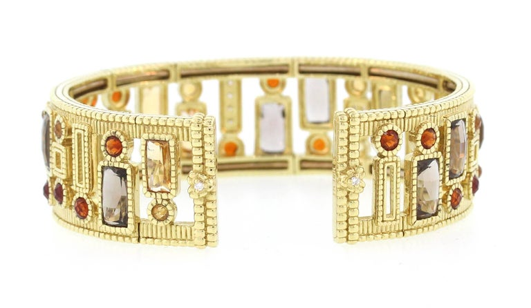 Women's Judith Ripka Multi-Color Gemstone Yellow Gold and Diamond Cuff For Sale