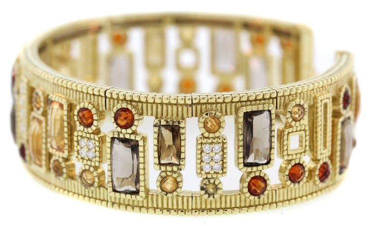 Judith Ripka Multi-Color Gemstone Yellow Gold and Diamond Cuff For Sale 1