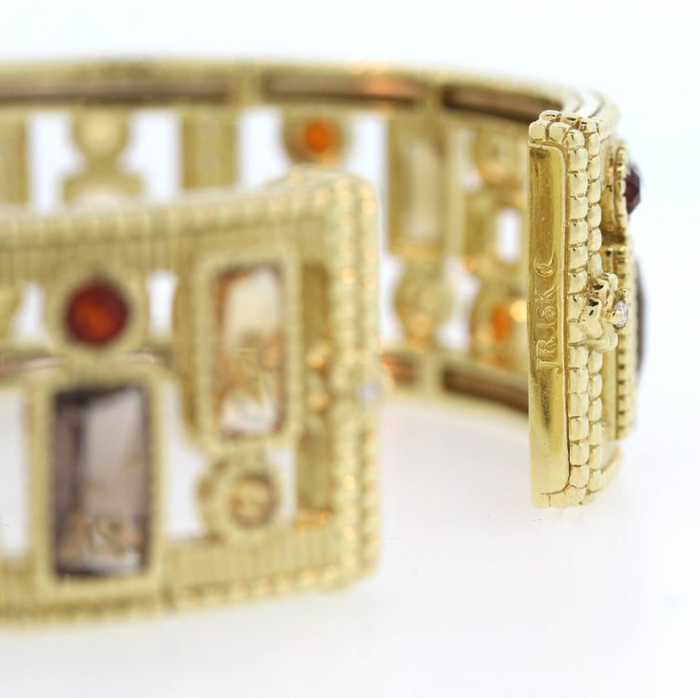 Judith Ripka Multi-Color Gemstone Yellow Gold and Diamond Cuff For Sale 3