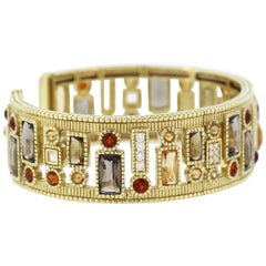 Judith Ripka Multi-Color Gemstone Yellow Gold and Diamond Cuff