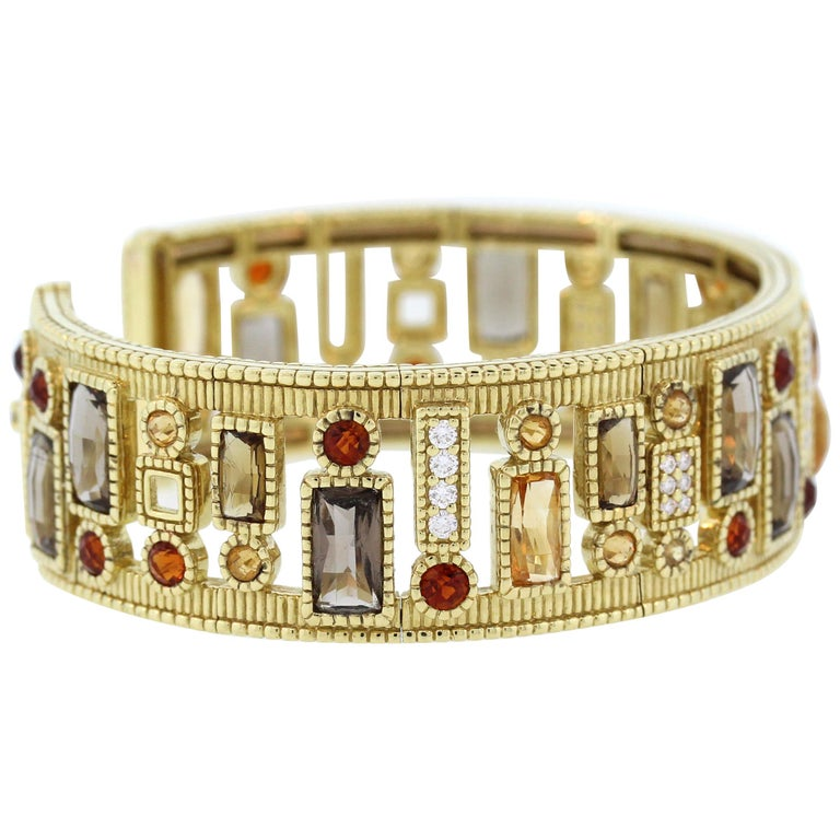 Judith Ripka Multi-Color Gemstone Yellow Gold and Diamond Cuff For Sale