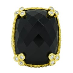 Judith Ripka Onyx 5.00 Carats Diamond 18 Karat Gold Monaco Cocktail Ring