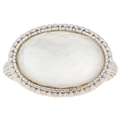 Judith Ripka Oval Mother of Pearl under Quartz Ring 18k Gold Cocktail Solitaire