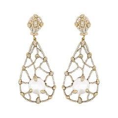 Judith Ripka Pearl Diamond Drop Earrings