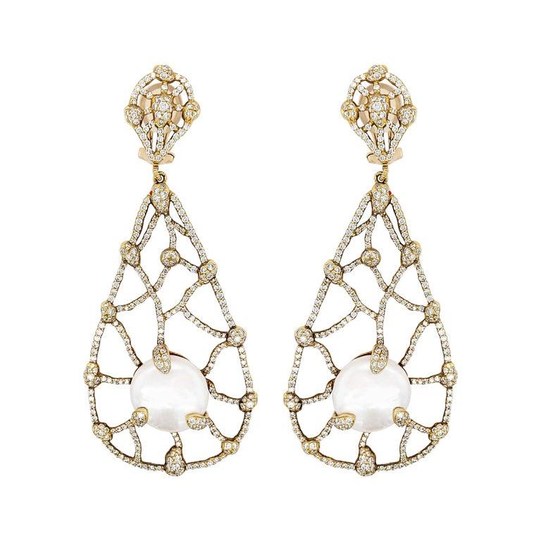 Judith Ripka Pearl Diamond Drop Earrings For Sale